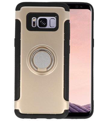 Goud Pantser TPU met Ringhouder hoesje voor Samsung Galaxy S8