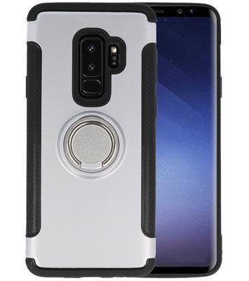 Zilver Pantser TPU met Ringhouder hoesje voor Samsung Galaxy S9 Plus