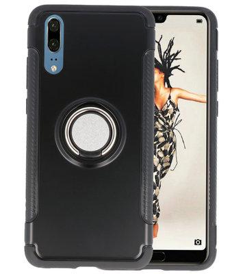 Zwart Pantser TPU met Ringhouder hoesje voor Huawei P20