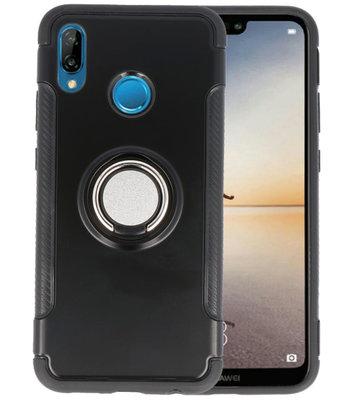 Zwart Pantser TPU met Ringhouder hoesje voor Huawei P20 Lite
