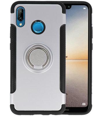 Zilver Pantser TPU met Ringhouder hoesje voor Huawei P20 Lite