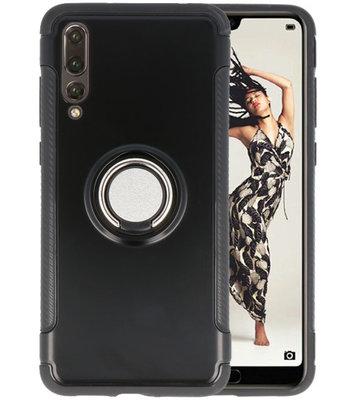 Zwart Pantser TPU met Ringhouder hoesje voor Huawei P20 Pro