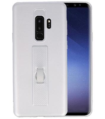 Zilver Carbon serie Zacht Case hoesje voor Samsung Galaxy S9 Plus