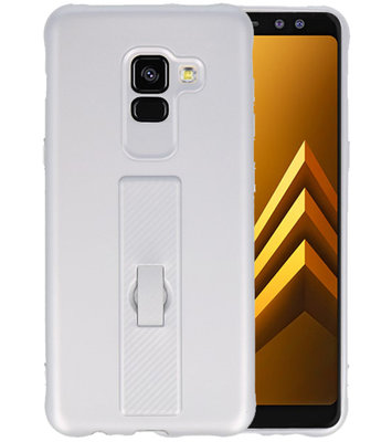 Zilver Carbon serie Zacht Case hoesje voor Samsung Galaxy A8 2018