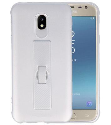 Zilver Carbon serie Zacht Case hoesje voor Samsung Galaxy J3 2017