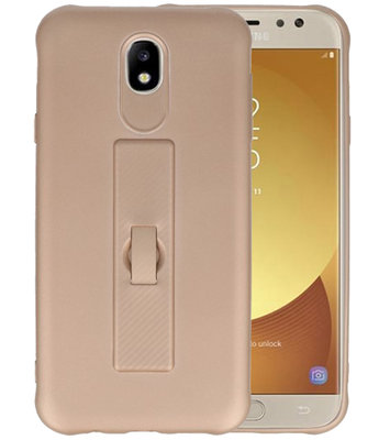 Goud Carbon serie Zacht Case hoesje voor Samsung Galaxy J7 2017 / Pro