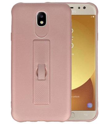 Roze Carbon serie Zacht Case hoesje voor Samsung Galaxy J7 2017 / Pro