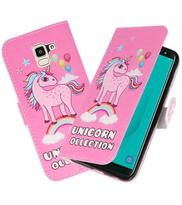 Roze Unicorn booktype wallet case Hoesje voor Samsung Galaxy J8