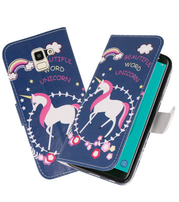Blauw Unicorn booktype wallet case Hoesje voor Samsung Galaxy J8