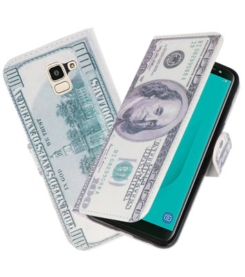 Dollar booktype wallet case Hoesje voor Samsung Galaxy J8