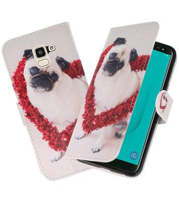 Hond booktype wallet case Hoesje voor Samsung Galaxy J8