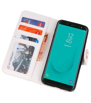 Rood Bloemen booktype wallet case Hoesje voor Samsung Galaxy J8