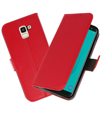 Rood booktype wallet case Hoesje voor Samsung Galaxy J8