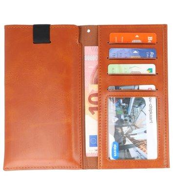 Bruin Insteek Wallet Cases Hoesje Universeel tot 5.7 Inch