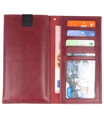 Bordeaux Rood Insteek Wallet Cases Hoesje Universeel tot 5.7 Inch