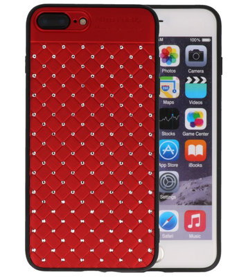 Rood Diamand Geweven hard case hoesje voor Apple iPhone 7 Plus / 8 Plus