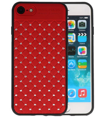Rood Diamand Geweven hard case hoesje voor Apple iPhone 7 / 8