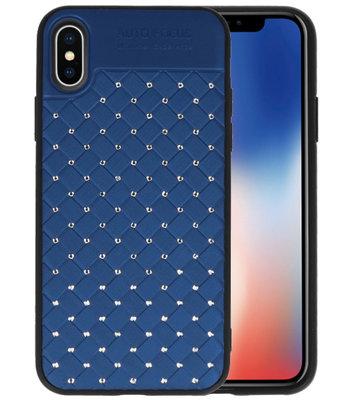 Blauw Diamand Geweven hard case hoesje voorApple iPhone X