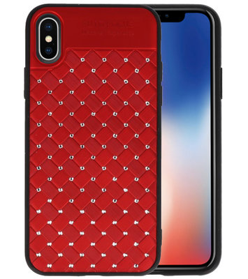 Rood Diamand Geweven hard case hoesje voorApple iPhone X