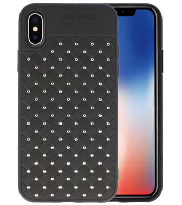 Zwart Diamand Geweven hard case hoesje voorApple iPhone X