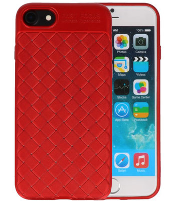 Rood Geweven TPU case hoesje voor Apple iPhone 7 / 8