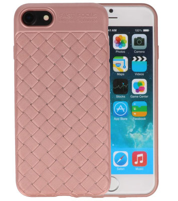Roze Geweven TPU case hoesje voor Apple iPhone 7 / 8