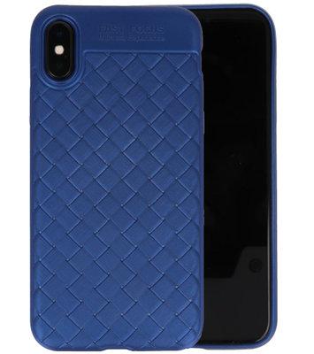 Blauw Geweven TPU case hoesje voor Apple iPhone X