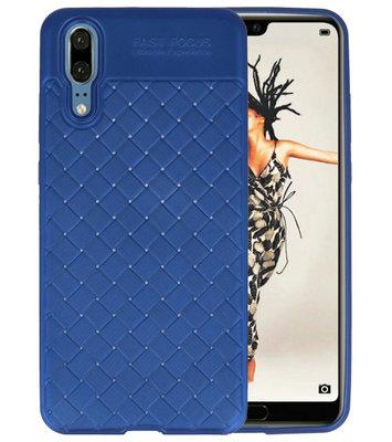 Blauw Geweven TPU case hoesje voor Huawei P20