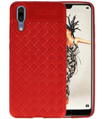 Rood Geweven TPU case hoesje voor Huawei P20