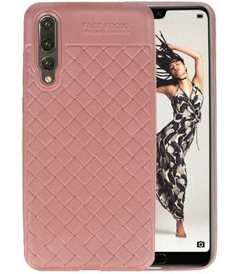 Roze Geweven TPU case hoesje voor Huawei P20