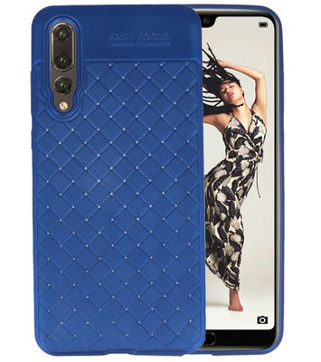 Blauw Geweven TPU case hoesje voor Huawei P20 Pro