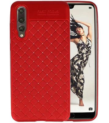 Rood Geweven TPU case hoesje voor Huawei P20 Pro