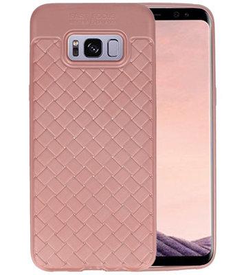 Roze Geweven TPU case hoesje voor Samsung Galaxy S8 Plus