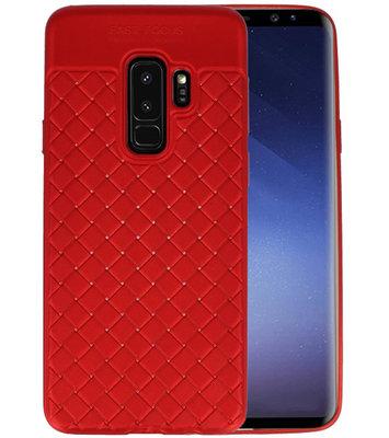 Rood Geweven TPU case hoesje voor Samsung Galaxy S9 Plus