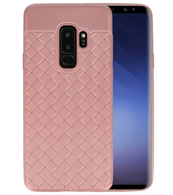 Roze Geweven TPU case hoesje voor Samsung Galaxy S9 Plus