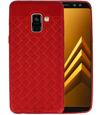 Rood Geweven TPU case hoesje voor Samsung Galaxy A8 2018