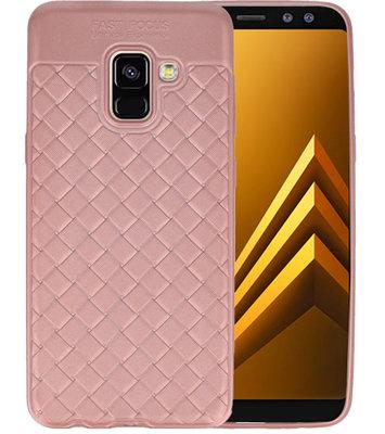 Roze Geweven TPU case hoesje voor Samsung Galaxy A8 2018