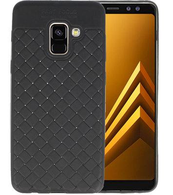 Zwart Geweven TPU case hoesje voor Samsung Galaxy A8 2018
