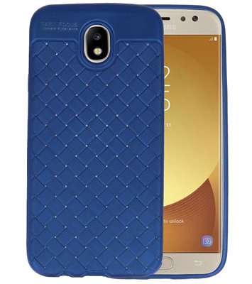 Blauw Geweven TPU case hoesje voor Samsung Galaxy J7 2017 / Pro
