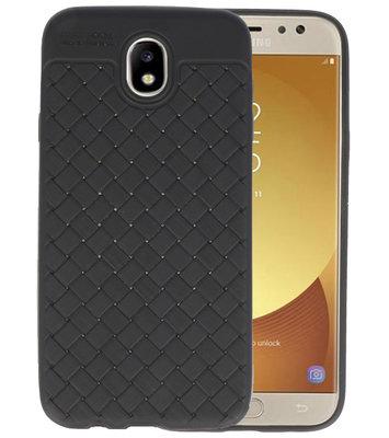 Zwart Geweven TPU case hoesje voor Samsung Galaxy J7 2017 / Pro
