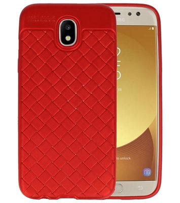 Rood Geweven TPU case hoesje voor Samsung Galaxy J5 2017