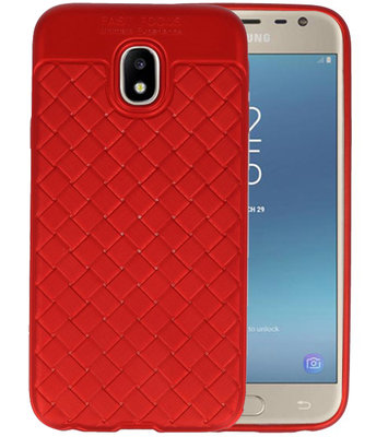Rood Geweven TPU case hoesje voor Samsung Galaxy J3 2017