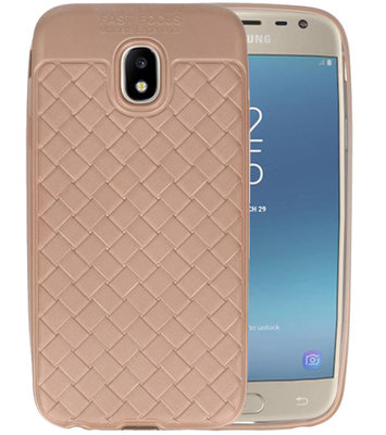 Goud Geweven hard case hoesje voor Samsung Galaxy J3 2017