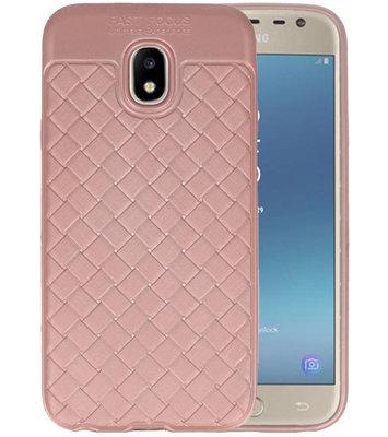 Roze Geweven TPU case hoesje voor Samsung Galaxy J3 2017