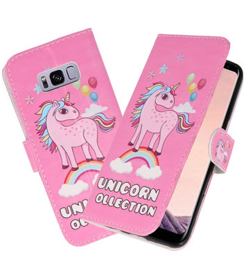 Roze Unicorn booktype wallet case Hoesje voor Samsung Galaxy S8