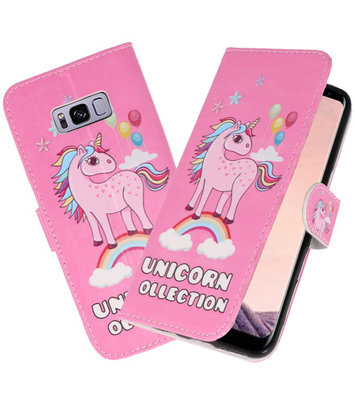 Roze Unicorn booktype wallet case Hoesje voor Samsung Galaxy S8 Plus