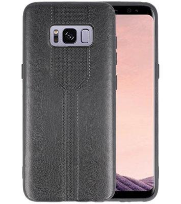 Zwart lederlook hard case hoesje voor Samsung Galaxy S8