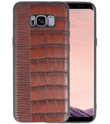 Croco Donker Bruin hard case hoesje voor Samsung Galaxy S8 Plus