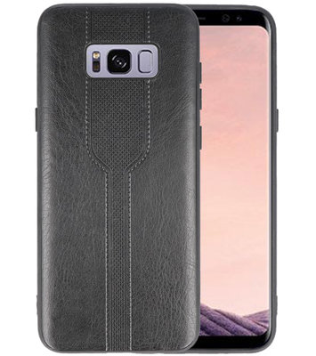 Zwart lederlook hard case hoesje voor Samsung Galaxy S8 Plus