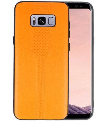 Oranje lederlook hard case hoesje voor Samsung Galaxy S8 Plus